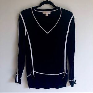 Michael Kors V Neck Navy Sweater | XS
